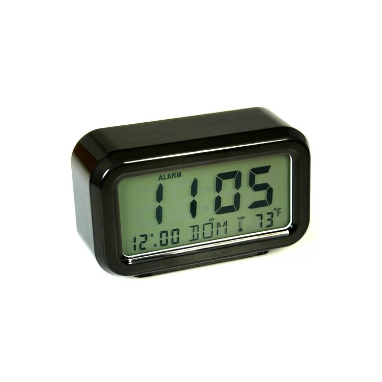 Reloj despertador digital rectangular negro