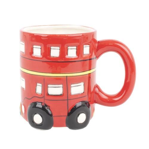 Taza ceramica roja autobus