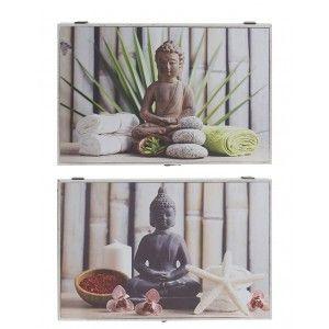 Tapa Contador de Luz Decorativo, Diseño Oriental Buda Estilo Zen Relax 46x32x7 cm