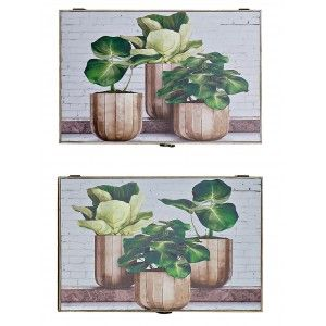 Lid for Counter Wooden MDF Plant Design, Vintage Style 46,5X6X31 cm