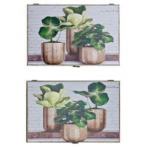 Tapa para Contador de Madera MDF Diseño de Plantas, Estilo Vintage 46,5X6X31 cm