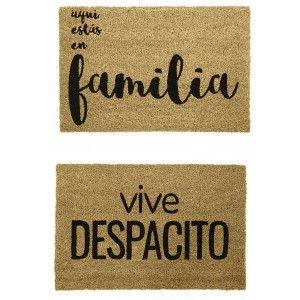 """Felpudo Fibra de Coco para Entrada, Diseño Original y Moderno """"Familia"""" 60x40x1,5 cm"""