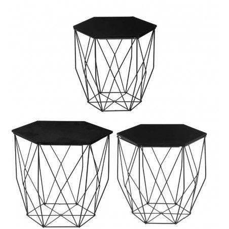 mesa de centro metal octogonal
