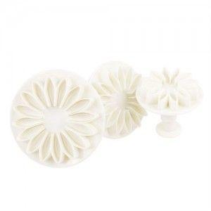 Cortapastas flor blanco ( set de tres)