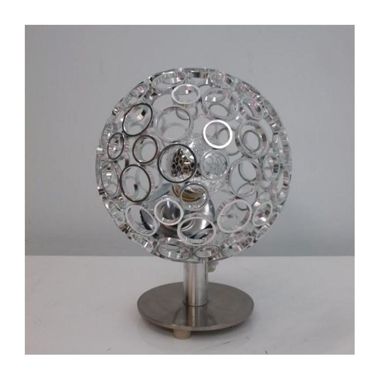 Lámpara sobremesa metalizada, Circular. Estilo Moderno y Diseño Original/Deluxe. Ideal para Dormitorio (32 x 22CM).-Hogarymas-
