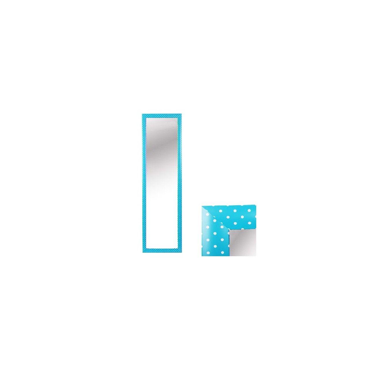 Espejo para puerta azul con lunares sin agujeros hogar for Perchero pared sin agujeros