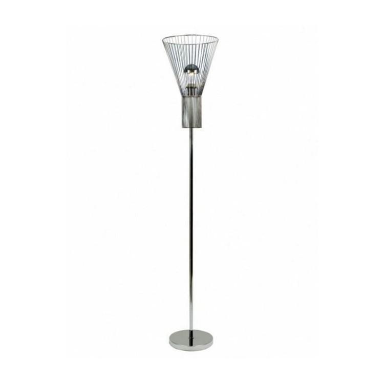 Lámpara de pie en color Cromo, Moderna. Ideal para Salón/ Dormitorio. Diámetro 30 cm, Altura 162 cm.-Hogarymas-
