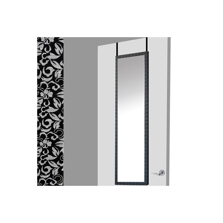 Espejo para puerta negro floral .