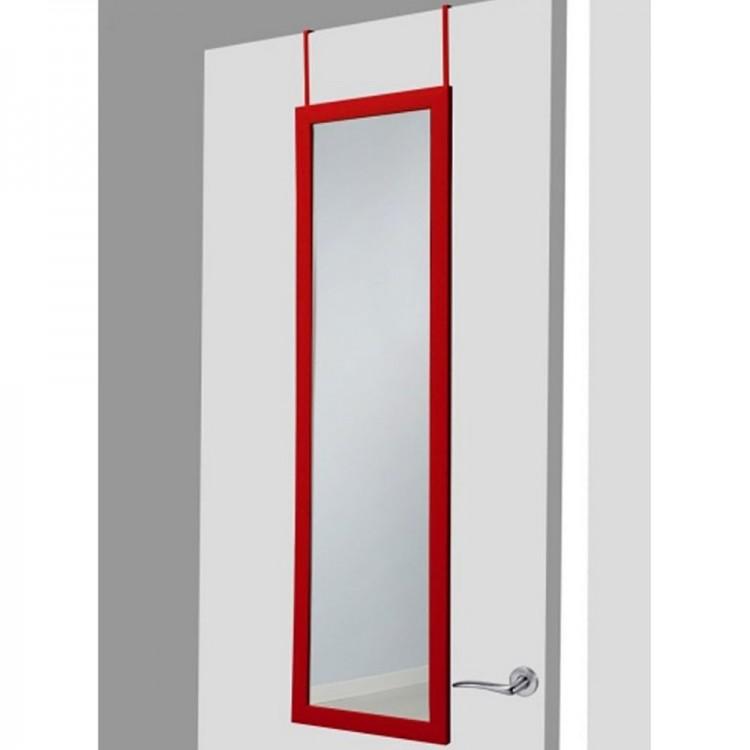 Hogar y Mas- Espejo para puerta rojo sin agujeros.