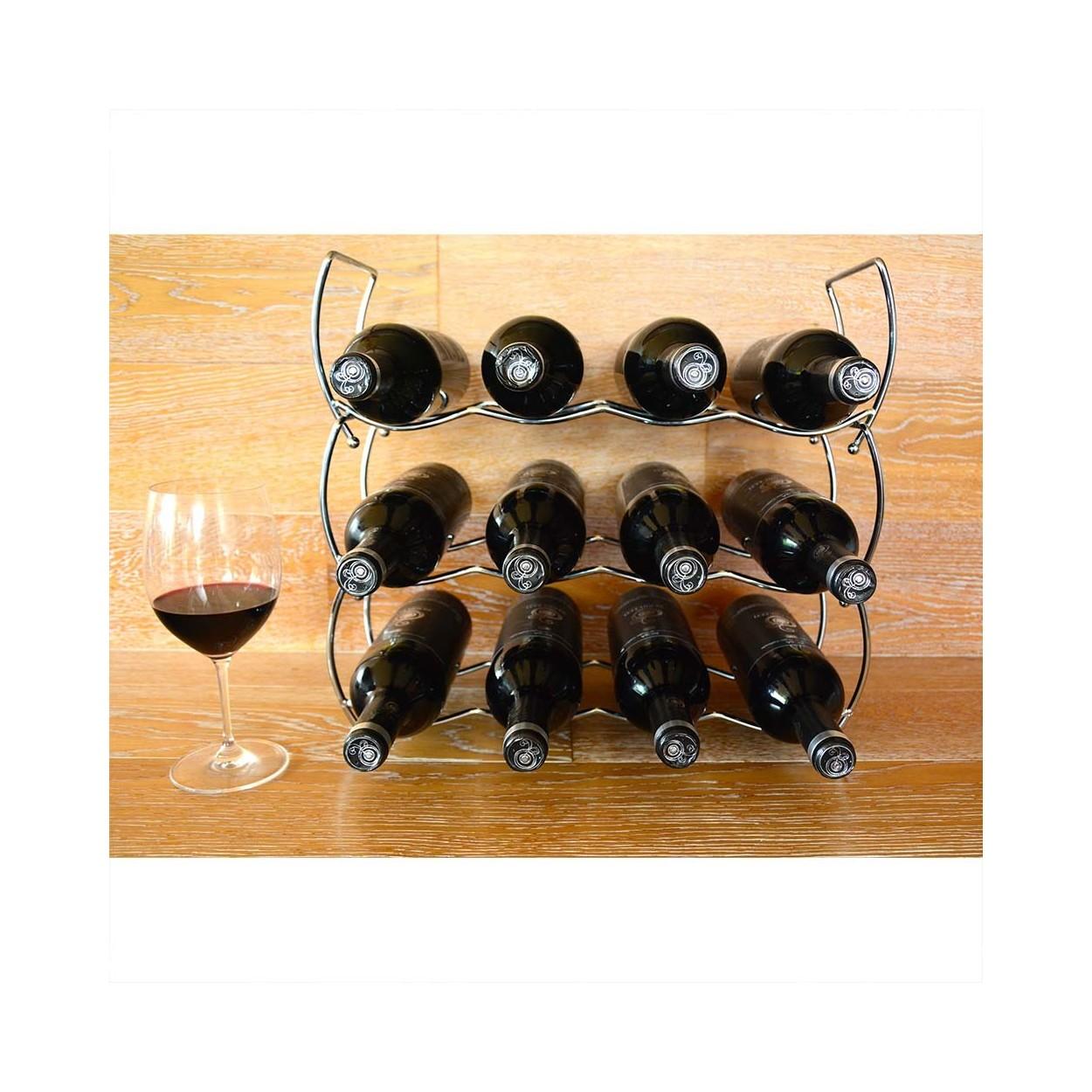 Botellero de vino apilable cromado 12 botellas hogar y m s - Botelleros de vino ...