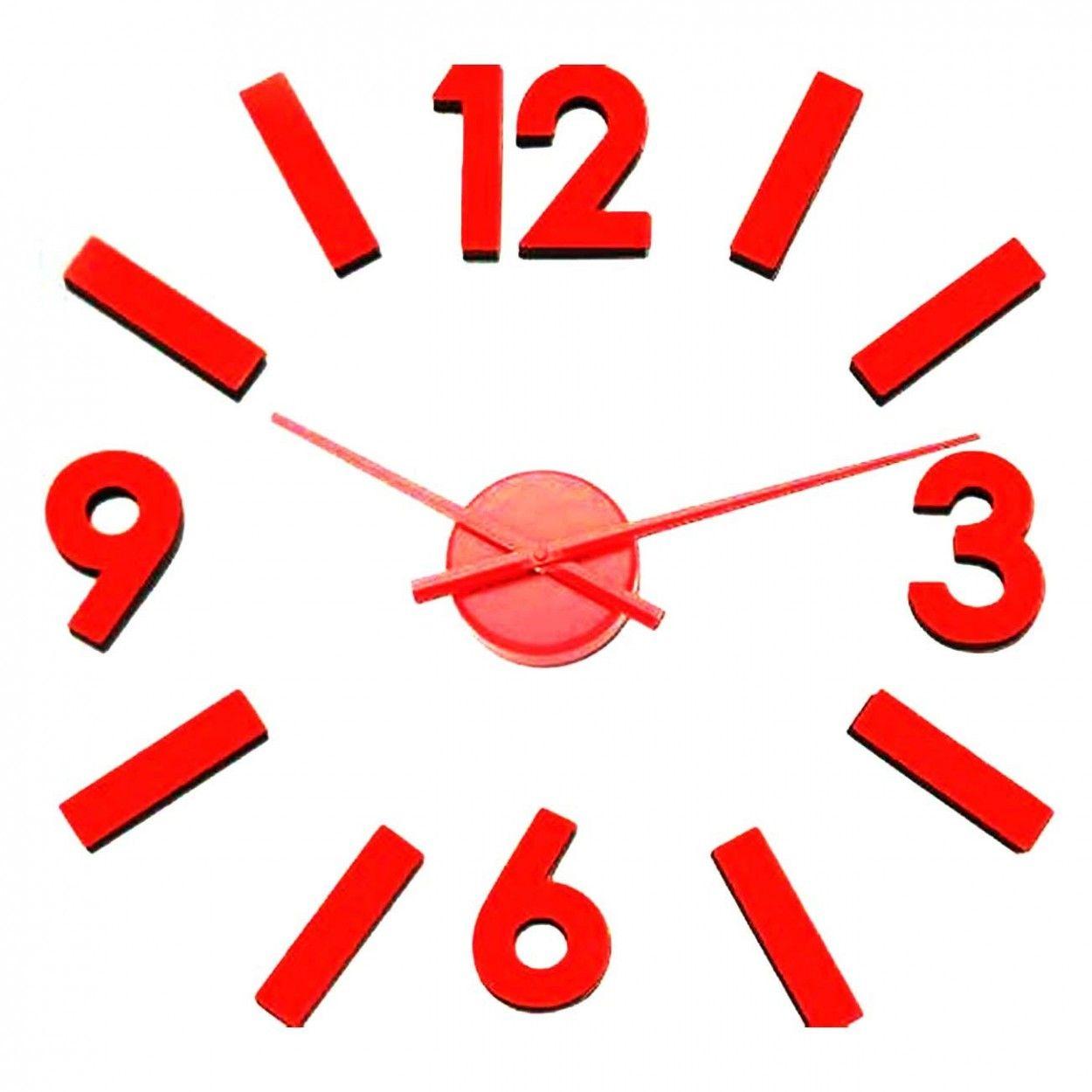 Reloj n meros adhesivos rojo hogar y m s - Reloj de pared adhesivo ...