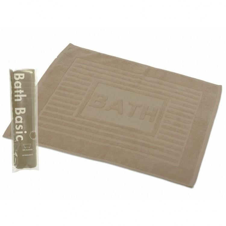 Alfombra para Baño Rectangular, de Algodón y Rizo Americano, Color Beige. Diseño Bath - Hogar y Más