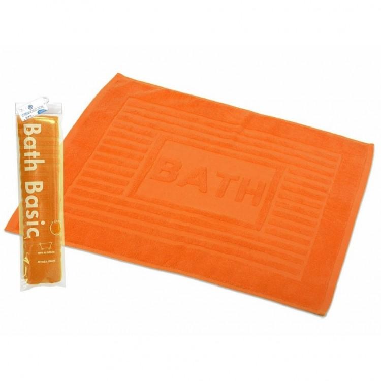 Alfombra para Baño Rectangular, de Algodón y Rizo Americano, Color Naranja. Diseño Bath - Hogar y Más