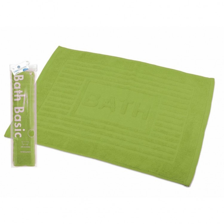 Alfombra para Baño Rectangular, de Algodón y Rizo Americano, Color Verde Lima. Diseño Bath - Hogar y Más
