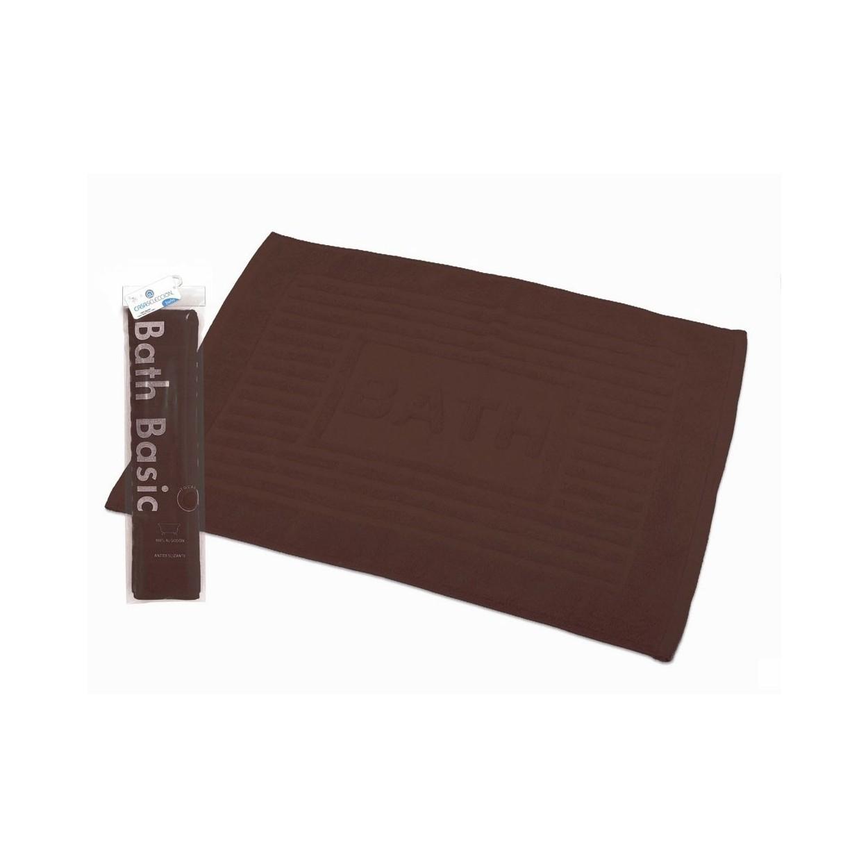 Alfombra para ba o rectangular de algod n y rizo - Pared marron chocolate ...
