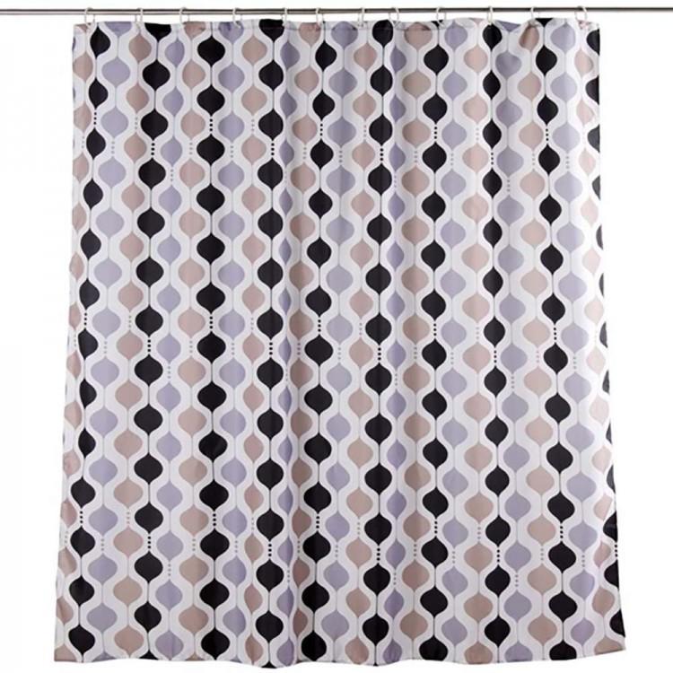 Cortina de baño formas geométricas (180x200) marrón/negro/gris