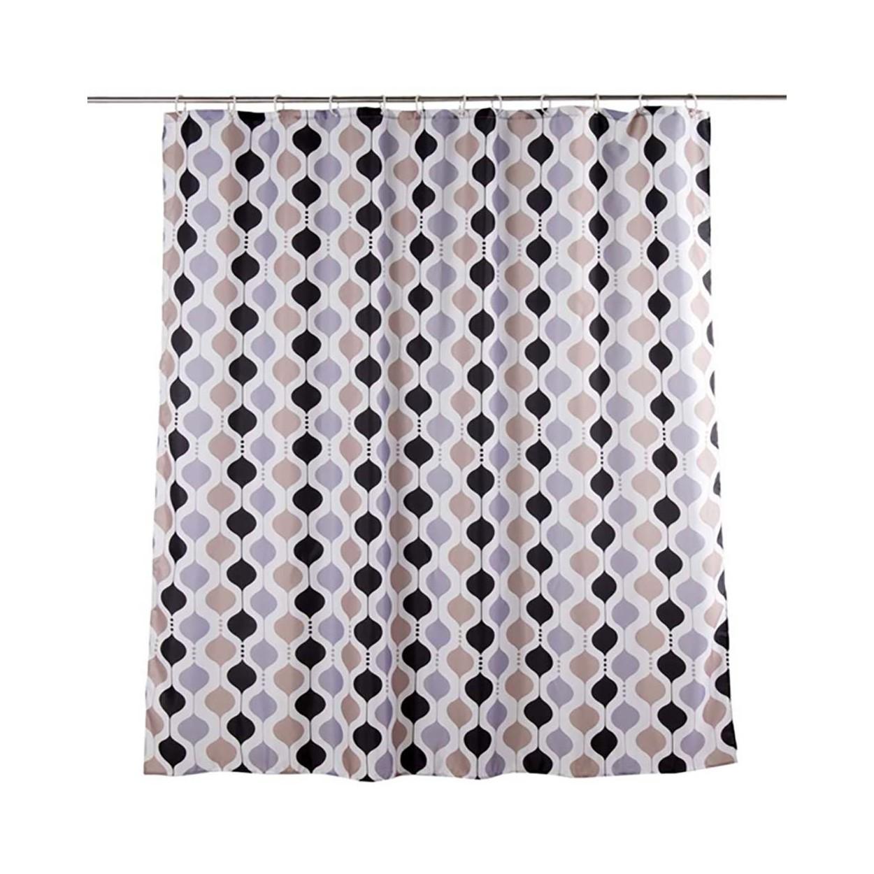 Cortina de ba o formas geom tricas 180x200 marr n negro - Formas de cortinas ...