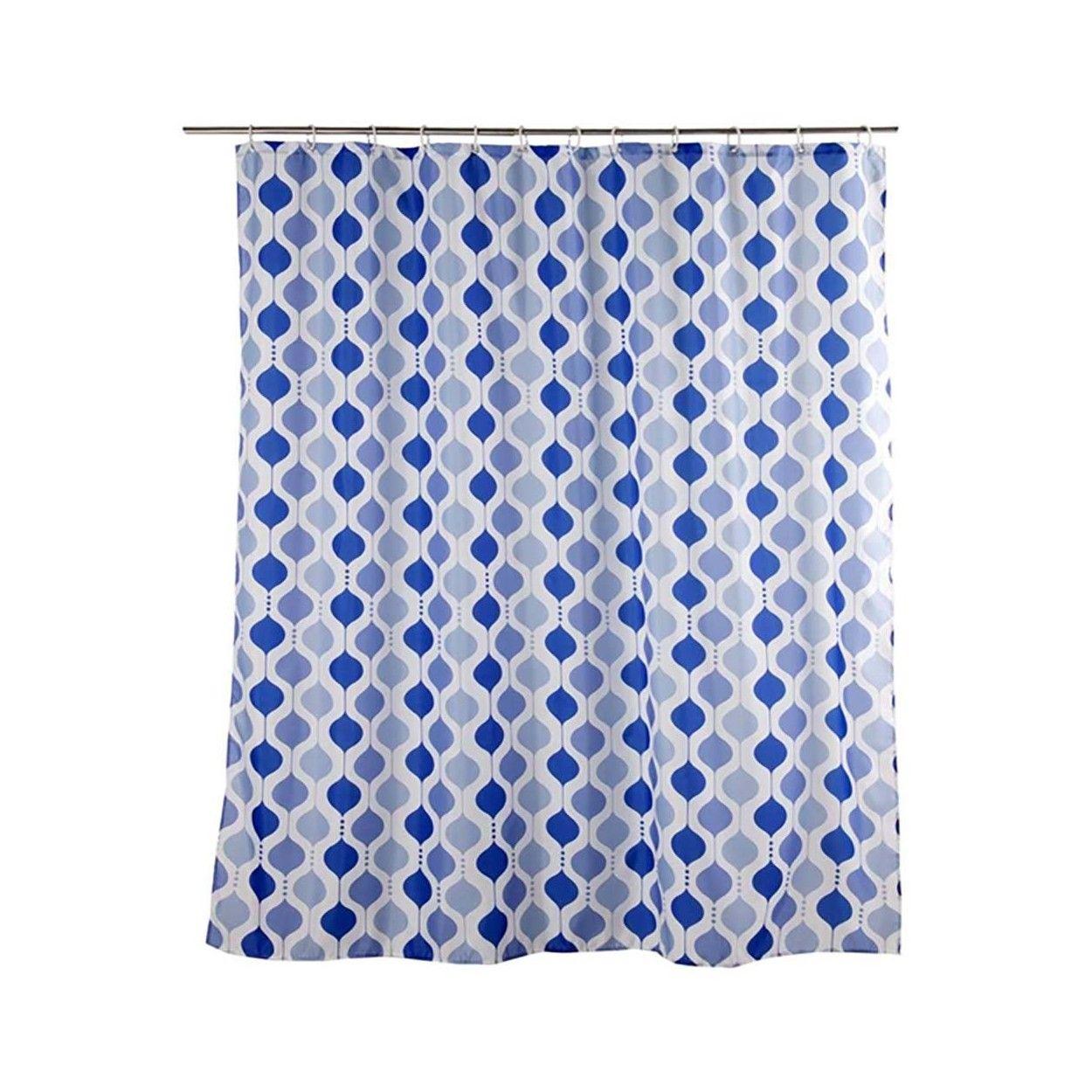 Cortina de ba o formas geom tricas 180x200 azul hogar - Formas de cortinas ...