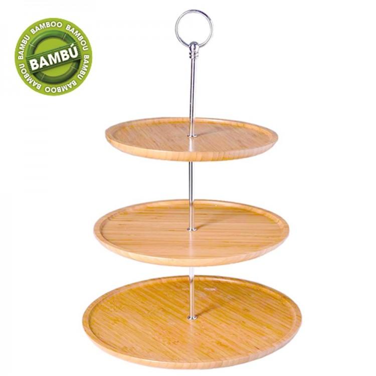 Frutero / Pastelero tres alturas de bambú, de Hogar y Mas