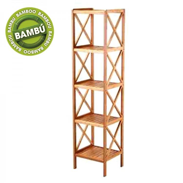 Estantería de 5 baldas de Bambú Natural para baño y cocina.