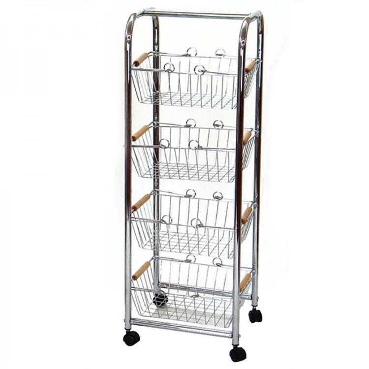 Carro verdulero-frutero de acero cromado con ruedas  4 cestas para organización Basic.