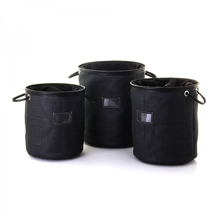 Cesto para ropa negro con asas y cierre (35.5x40)