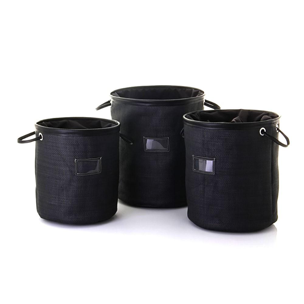 Cesto para ropa negro con asas y cierre (32.5x35)