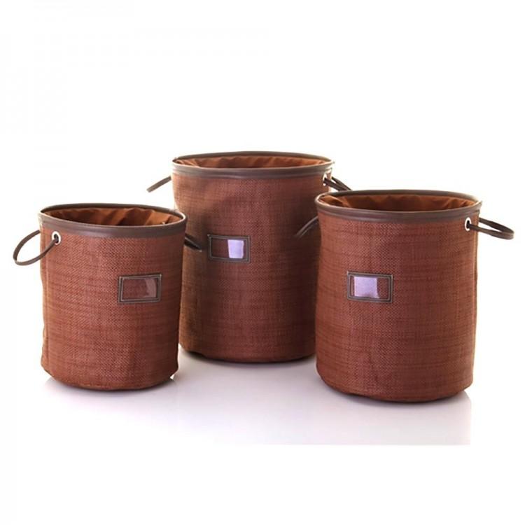 Cesto para ropa marrón con asas y cierre (32.5x35)