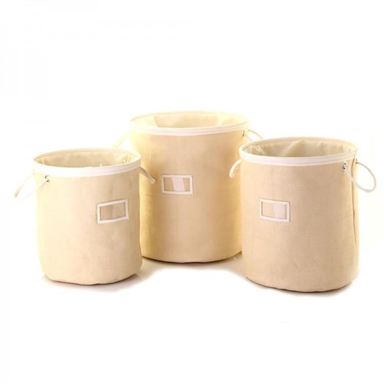 Cesto para ropa beige con asas y cierre (32.5x35)