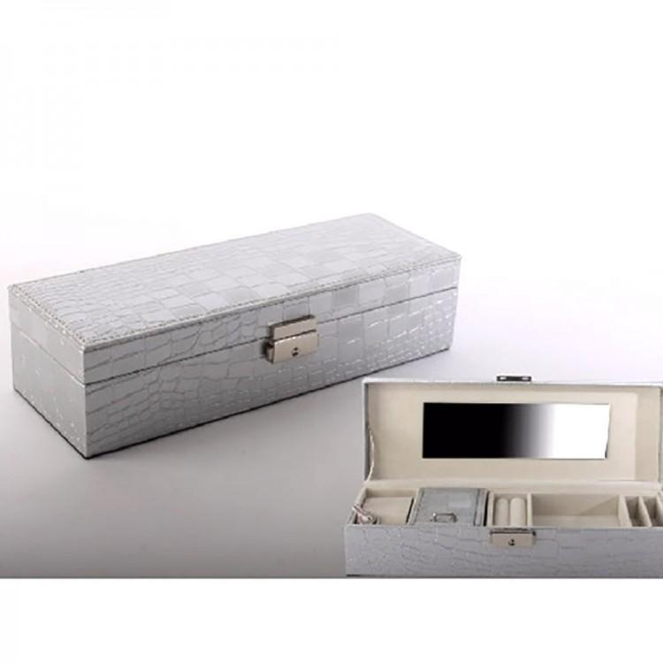 Joyero rectangular plateado con espejo 28x10x7 5 hogar for Espejo rectangular plateado
