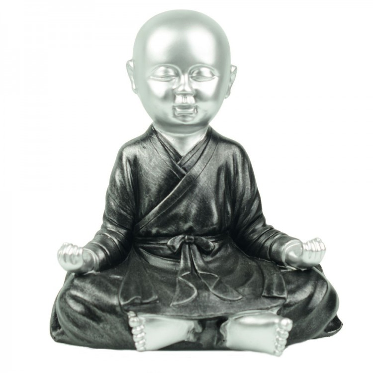 Figura niño tibetano meditando, en resina negro/plata (18x22)