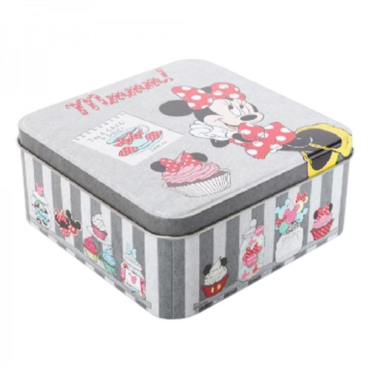 Caja de metal cuadrada Minnie Mouse (15x15x6 cm) gris