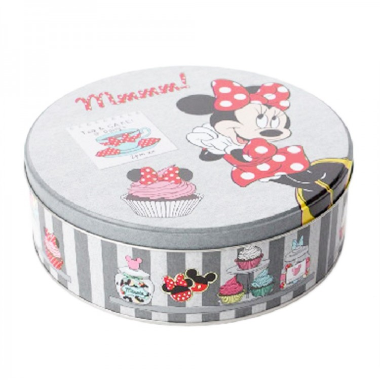 Caja de metal circular Minnie Mouse (20x6 cm) gris