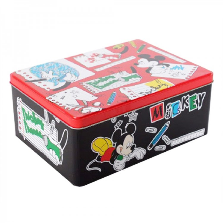 Caja de metal infantil rectangular Mickey Mouse (22x16x9 cm)