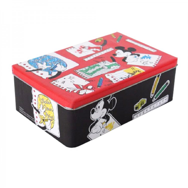 Caja de metal infantil rectangular Mickey Mouse (20x13x6 cm)