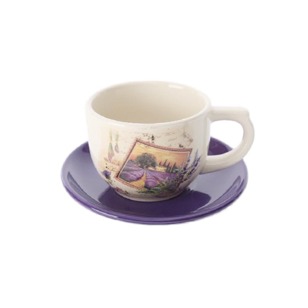 Taza y plato de cer mica lavanda hogar y m s - Platos ceramica colores ...
