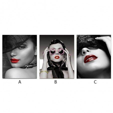 Cuadro chica negro/rojo/rosa (40x50)