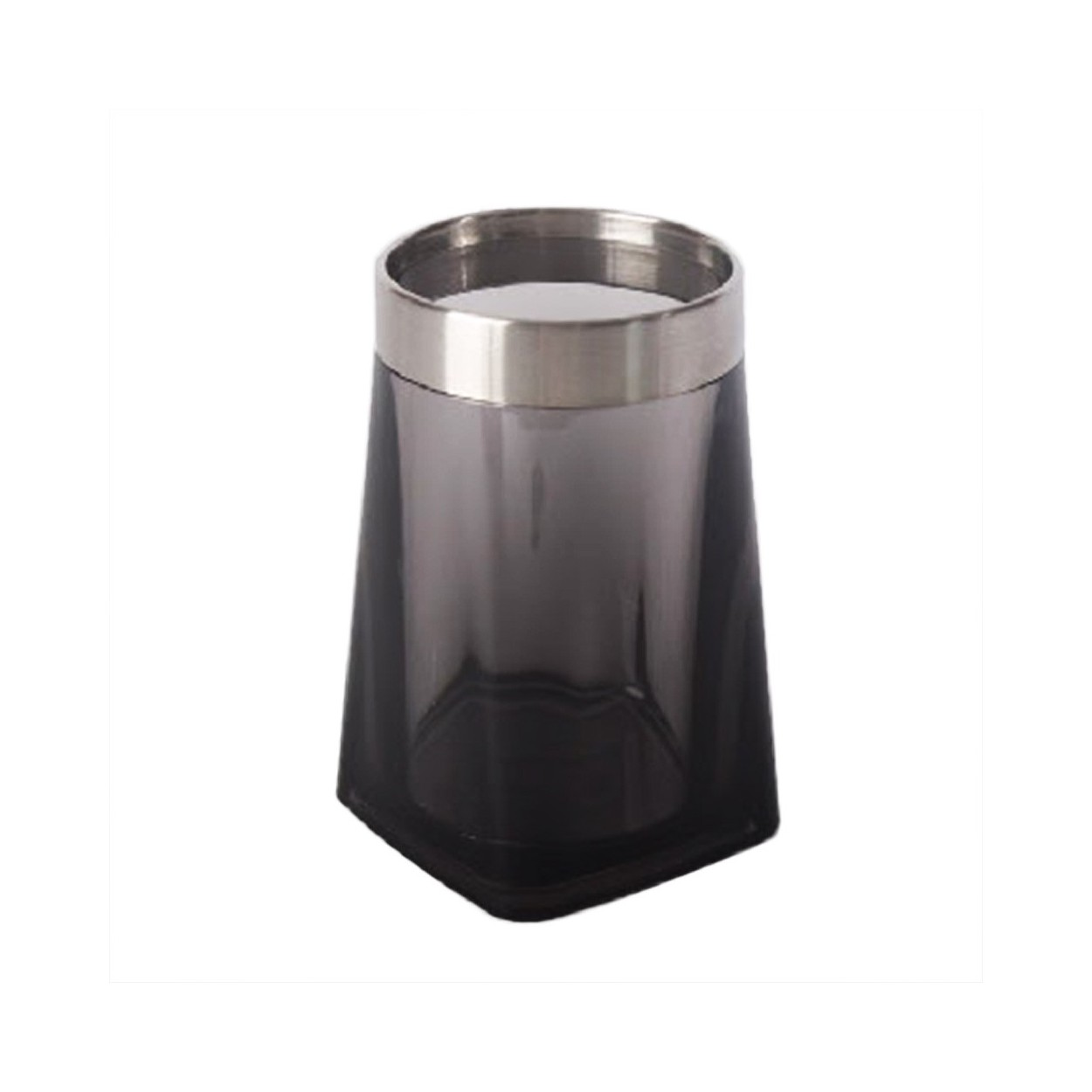 Vaso para ba o negro 7 5x12 cm poliestireno y acero for Accesorios para el bano en acero inoxidable