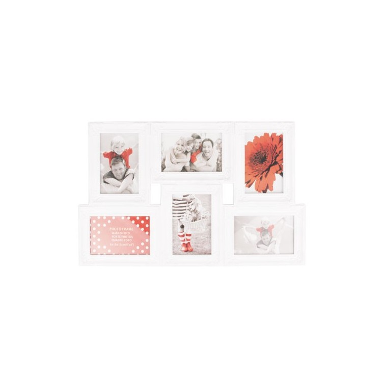 Marco multifotos blanco, seis fotos. 33 x 52,5 cm