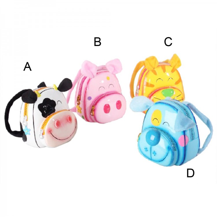 Hucha infantil mochila de animales (11x9x11 cm) resina y tela