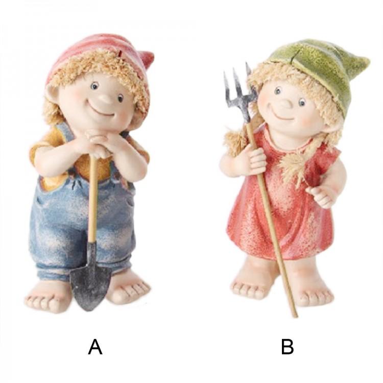 Figura niño / niña campesinos   (9x7x20 cm) resina