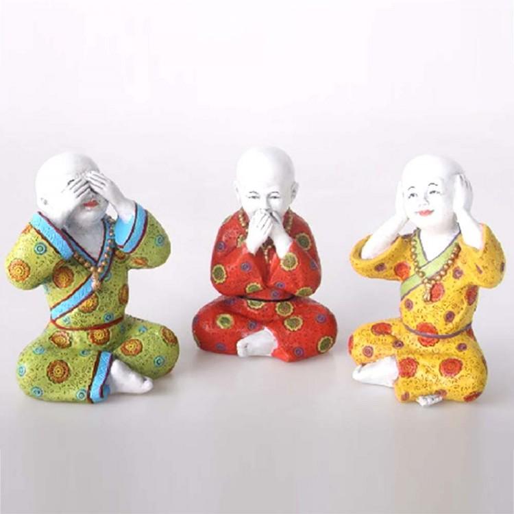 Figura monje sentado resina (15x11x7) tres colores