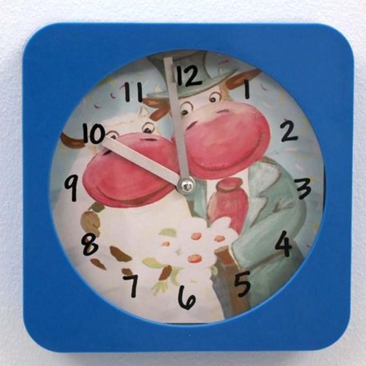 Reloj de pared Azul infantil, super original con 2 vacas. Positivo/Motivador. Ideal para regalar o para Dormitorio.-Hogarymas-