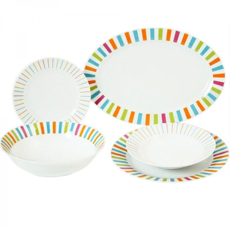 Vajilla de porcelana de 20 piezas - diseño con colores