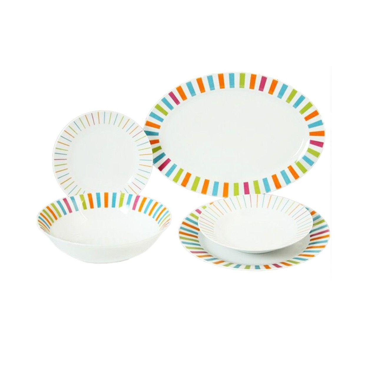 Vajilla de porcelana de 20 piezas dise o con colores for Diseno piezas infantiles