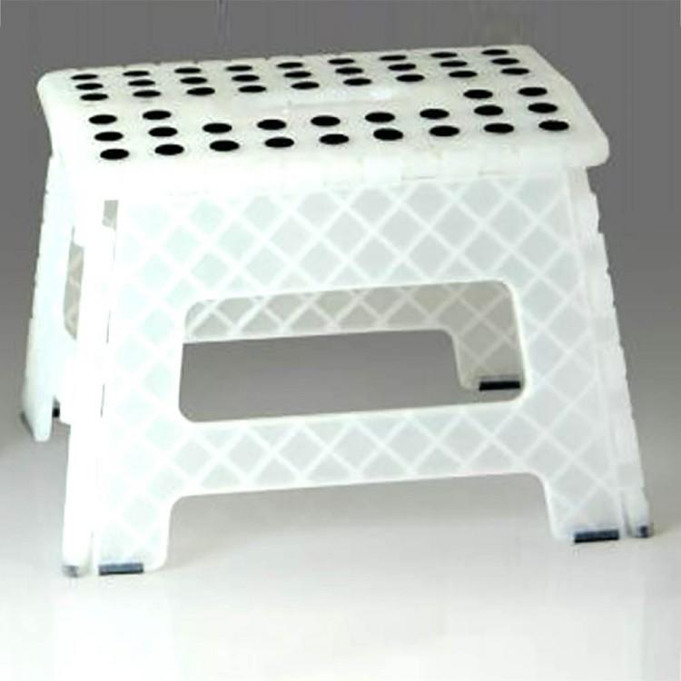 Taburete plegable blanco translúcido (32x25x22)