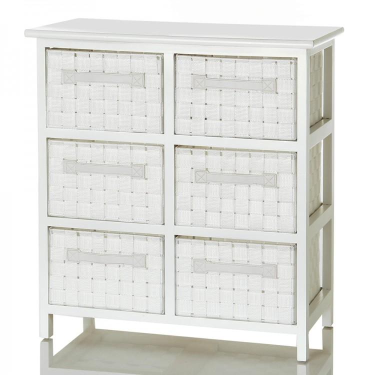 Mueble lacado en blanco con seis cajones de color blanco de Hogar y Mas
