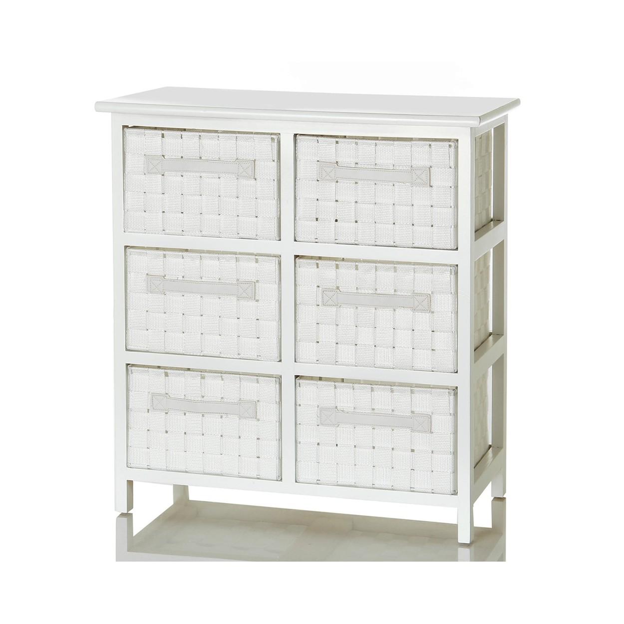 Mueble lacado en blanco con seis cajones de color blanco for Mueble 55 cm ancho