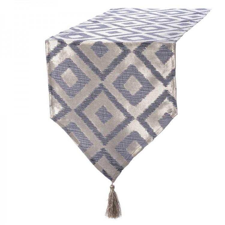Camino de mesa rombos beige/gris, con borlas, (135x35)