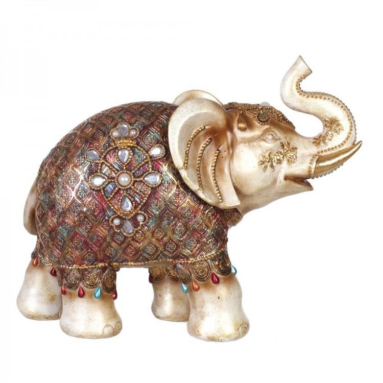 Figura elefante oro resina (34,80 x 14,40 x 27,50 cm)